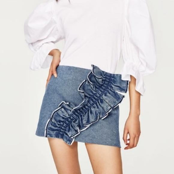 e550af1b18 Zara ruffle denim skirt